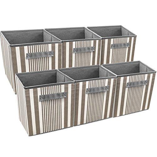 Sorbus Foldable Storage Cube Basket Bin, Vertical Stripe Line Pattern (6 Pack, Grey Taupe) (Storage Cubes Baskets)