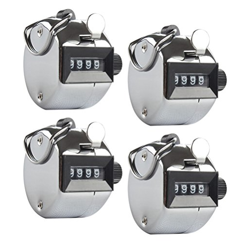 Odowalker Golf Score Counter Pack of 4 Hand Hold 4 Digit Tally Counter Metal Mechanical Palm Click Counter Count Clicker Counts up to 9999 for Transportation,Warehouse, Lap,Sports,Coach,Wholesale. from Odowalker