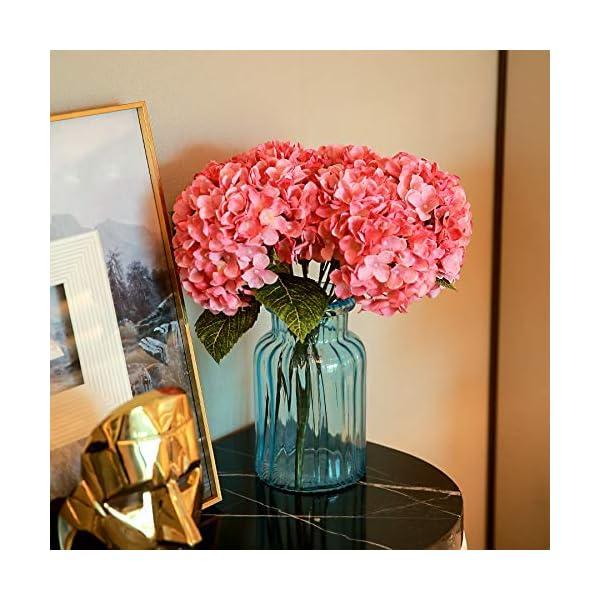 Louiesya Artificial Flowers Silk Hydrangea Flowers with 5 Big Heads Fake Flower Bunch Bouquet for Home Wedding Party Decor DIY (Pink, 5 Flower Heads)