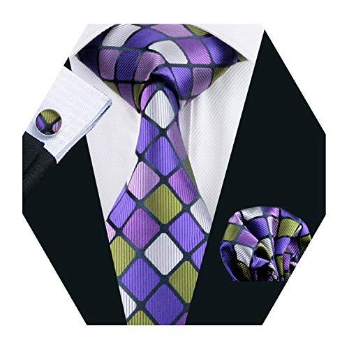 Purple Plaid Check Silk Tie Set Mens Necktie with Hankerchief and Cufflinks - Shirt Set Cufflinks