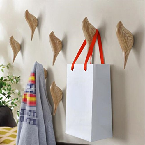 2 Pcs 3D Creative Bird Wall Hooks Decorative Wall Rack Door Single Hooks Coat Hooks Wall Hanger For Bathroom,Bedroom wooden Animal Shape Wall Hook