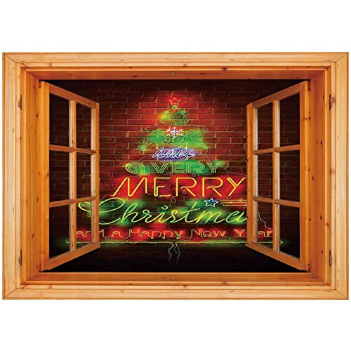 3D Depth Illusion Vinyl Wall Decal Sticker [ Christmas,Neon Lights Sign Have a Merry Xmas and Happy New Year Phrase against the Wall,Burgundy Green ] Window Frame Style Home Decor Art Removable Wall S ()