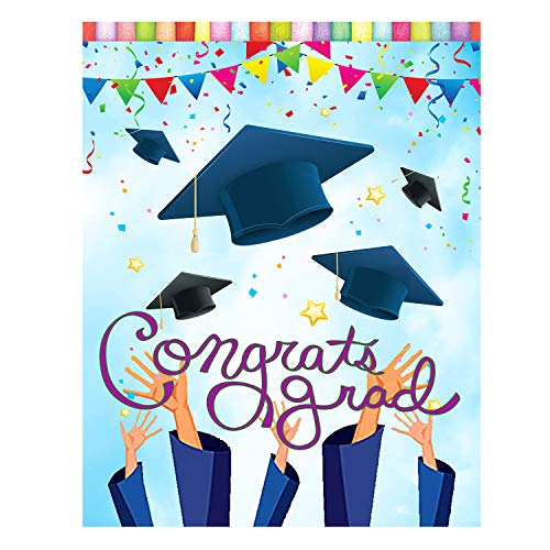 Wamika Congrats Grad Graduation Cap Confetti Double Sided Garden Yard Flag 12