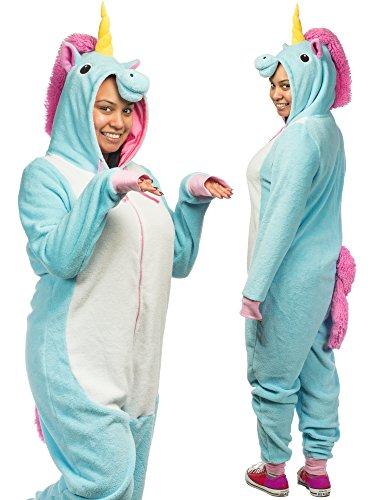 Forum Novelties Women's Unicorn Onesie Jumpsuit Costume, Blue/White, STD -