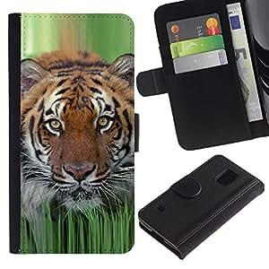 iKiki Tech / Cartera Funda Carcasa - Tiger Grass Spring Animal Nature Hunting - Samsung Galaxy S5 V SM-G900