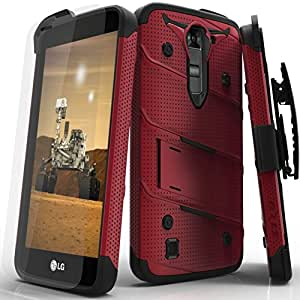LG K7 Case, Zizo [Bolt Series] w/Free [LG K7 Screen Protector] Kickstand [12 ft. Military Grade Drop Tested] Holster Belt Clip- LG K8 / Tribute 5