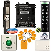 DIY Access Control Waterproof Keypad Office RFID Key Ring Password System Kit + Electric Strike for Push Bar Door Lock