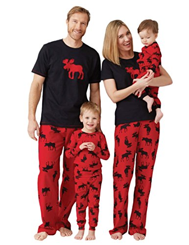Little Blue House by Hatley baby-boys Moose Family Pajamas, Infant Romper & Cap - Moose On Red, 3-6 Months