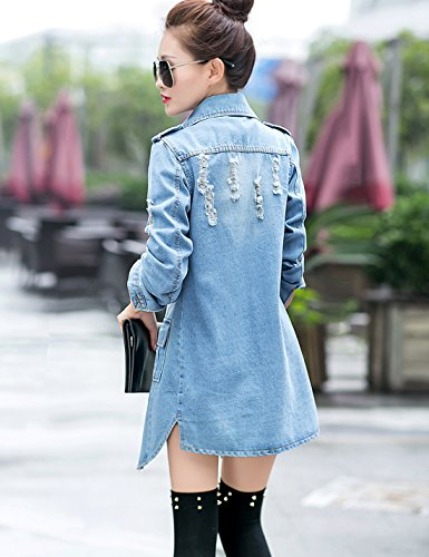 Tanming Women's Casual Lapel Slim Long Sleeve Denim Outercoat Jacket Windbreaker (Medium, Blue) by Tanming (Image #1)