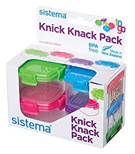 Sistema To Go Collection Mini Knick Knack Pack Food Storage Containers, 2 Ounce each, Assorted Colors, Set of 4