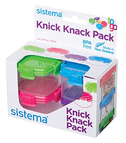 Sistema To Go Collection Mini Knick Knack Pack Food Storage Containers, 2 Ounce each, Assorted Colors, Set of 4 -  21127