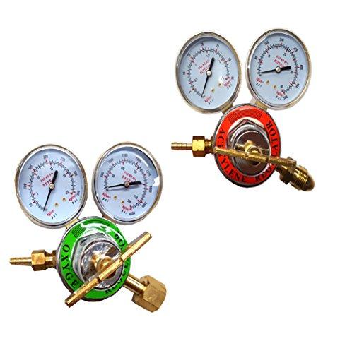 (2 Piece Set PSI KING Oxygen & Acetylene Regulator Set Large)