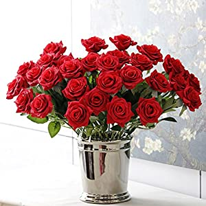 BELLAUSA 12 Pcs Real Touch Silk Artificial Rose Flowers Home Decorations for Wedding Party or Birthday Garden Bridal Bouquet Flower Saint Party Event 78