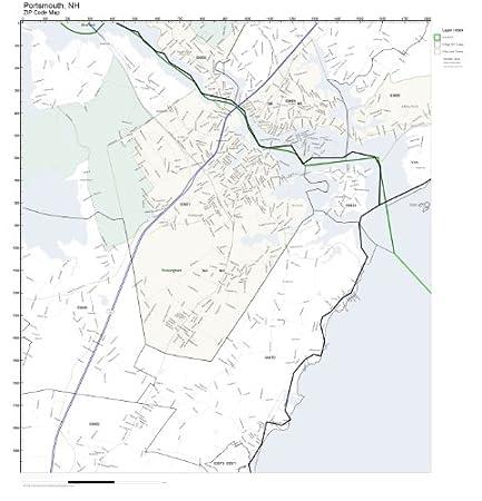 Amazon.com: ZIP Code Wall Map of Portsmouth, NH ZIP Code Map