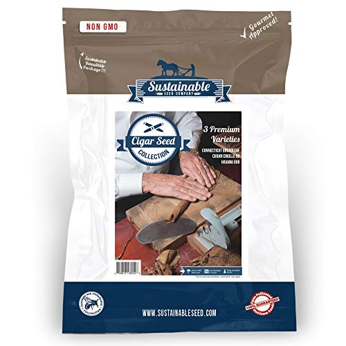 Cigar Tobacco Seed Collection, Non GMO Premium, Best Selling Cigar Tobacco Seeds, 3 Variety Pack, Cuban Criollo 98, Havana 608, Connecticut Broadleaf (Collection Only)