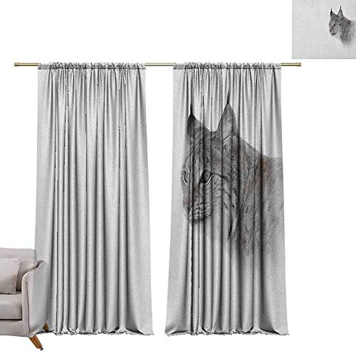 - Curtain Panels Hunting,Lynx in The Central Norway Wild Cat North Cold Snowy Mountain Carnivore Predator, Grey White W84 x L84 Grommet Curtain for Bedroom