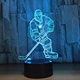 IAGM Hockey 3D Optical Illusion LED Night Light, Hi-azul 7-Color Changing Touch Table Desk Lamp Decorative Lamp with Acrylic Plate & ABS Base & USB Charger for Gifts