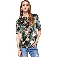ROMWE Womens O Neck Vintage Velvet Short Sleeve Casual T Shirt