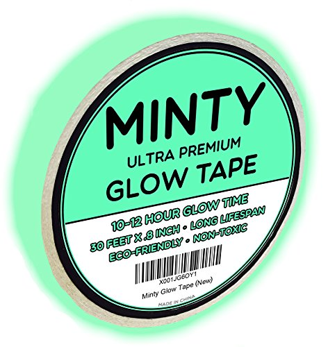 Minty Glow Tape - Premium Glow in the Dark Fluorescent Green Tape, 30-Foot Length, Extended 10-12 Hour Glow Time, Very Bright, Rechargeable Waterproof Sticker, Non-Toxic, Photoluminescent]()