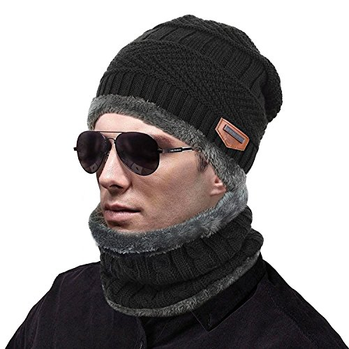 muco Womens Mens Winter Hat Warm Thick Beanie Cap Scarf for Winter Knit Ski Beanies Black -