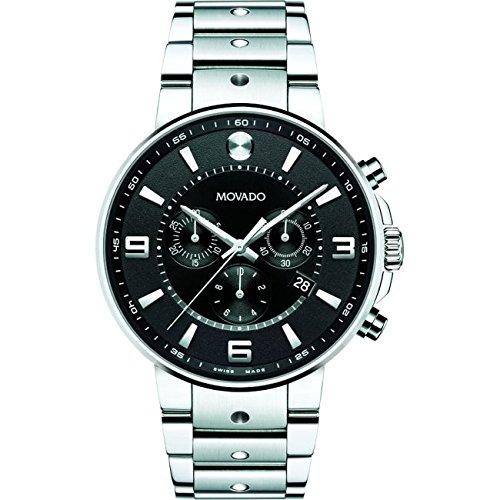 Movado Reloj de hombre cuarzo cronógrafo correa de acero caja de 0606759: Amazon.es: Relojes