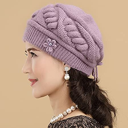LLIND Home Old Man hat Female Autumn and Winter Middle-Aged Spring and Autumn Thick Warm Wool hat Beret Color : Purple