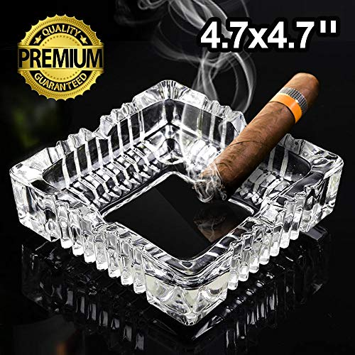 Ashtray Square Glass - Glass Ashtray, Square Luxury Ashtrays for Cigarettes, Glass Ashtray for Restaurant Outdoor Home Decoration (4.7 x 4.7inch)