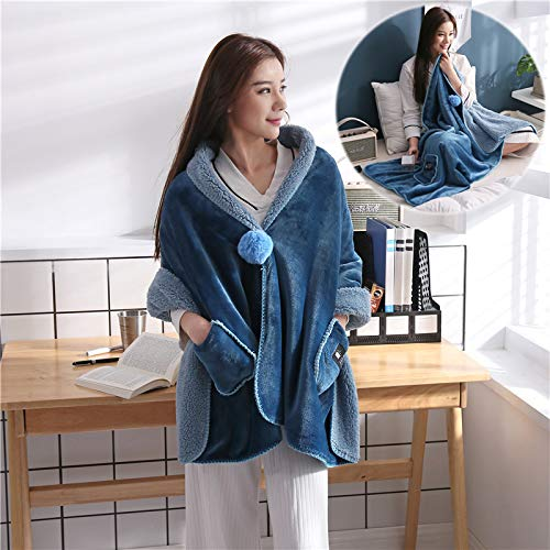 - Desilife Home Flannel Wearable Throw Blanket Button Wrap Shawl (26 x 68 inch) Teal - All Season Sofa Car Chair Travel Care for Women Girl - Household Office Nap Velvet Clothes Midnight Blue