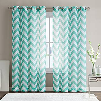 ME Chevron Printed Premium Window Sheer Curtain Voile Panels With Grommets  For Living Room