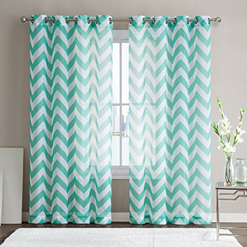 HLC.ME Chevron Printed Premium Window Sheer Curtain Voile Panels With Grommets for Living Room, Bedroom & Kids Room - 2 Panel Set - 84