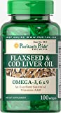 Puritan's Pride Flaxseed & Cod Liver Oil 1000 mg Omega 3, 6 & 9-100 Softgels