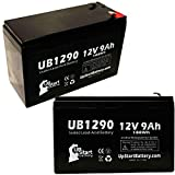 2 Pack - UB1290 Rechargeable SLA Universal Sealed Lead Acid Battery Replacement (12V, 9Ah, 9000mAh, F1 Terminal, AGM, SLA, Includes 4 F1 to F2 Terminal Adapters)