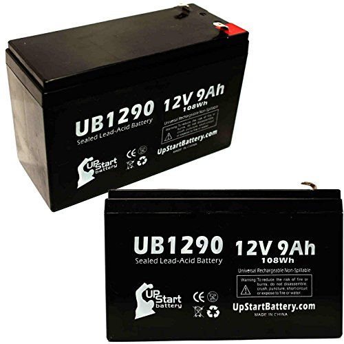 2-Pack UB1290 Universal Sealed Lead Acid Battery (12V, 9Ah, F1 Terminal, AGM, SLA) Replacement - Compatible With Yuasa NP7-12, APC RBC2, CYBERPOWER CP1500AVRLCD, CP1000AVRLCD, CP1350AVRLCD -