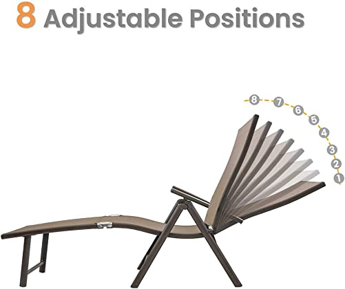Crestlive Products Aluminum Beach Yard Pool Folding Recliner Adjustable Chaise Lounge Chair and Table Set All Weather