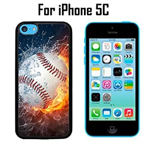 Ice and Fire Powerful Baseball Custom Case/ Cover/Skin *NEW* Case for Apple iPhone 4s - Black - Plastic Case (Ships from CA) Custom Protective Case , Design Case-ATT Verizon T-mobile Sprint ,Friendly Packaging - Slim Case