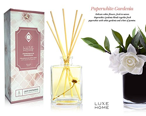 - Luxe Home Paperwhite Gardenia Reed Diffuser Set | Jasmine Fragrance Notes | Beautiful Home Decor & Home Scent | Real Flower Inside The Bottle!