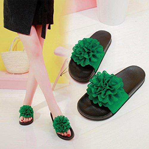 Zapatillas Zapatillas De Verano Playa Moda Romanas Zapatos Playa Zapatillas Zapatillas Sandalias Y OHQ para Planos Sandalias Elegante De Mujer Verde CóModo 7Fq80
