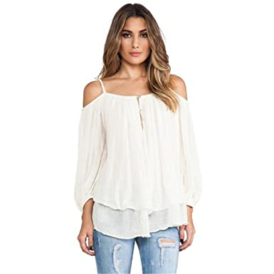 834beeef204261 HN Women Spaghetti Strap Blouse Off Shoulder Casual Shirt Tops On Sale (S)