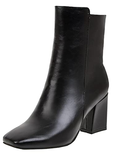 Womens Ankle Boots Chunky Block Heels Elastic Party Dress Work Booties Square Toe