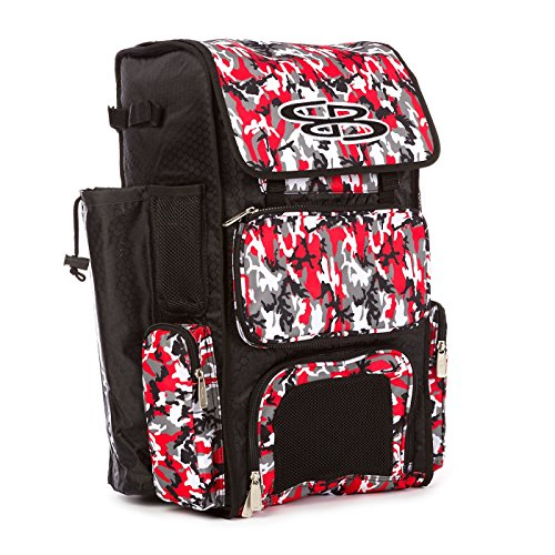 Boombah Superpack Bat Pack -Backpack Version (no Wheels) - Holds 2 Bats - Woodland Camo Black/Red - for Baseball or Softball
