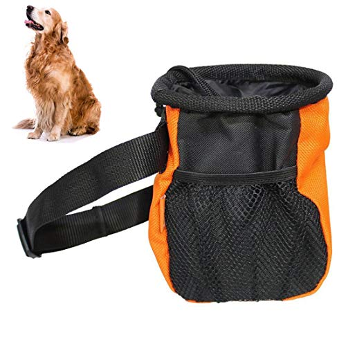 DFSP Rapid Rewards Dog Treat Training Bag Hands-Free Easily Carries Pet Toys, Kibble, Treats Pouch with Adjustable Waist Belt (Orange)