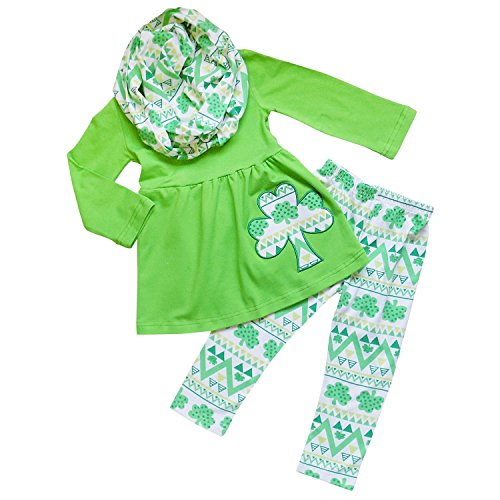 (So Sydney Toddler Girls 3 Pc Valentine's or St. Patrick's Day Holiday Outfit & Infinity Scarf (4T (M), Shamrock Green &)