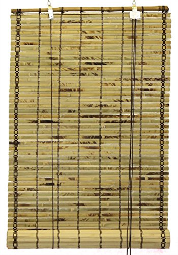Natural Bamboo Slat Tortoise Shell Roll Up Window Blind 48-Inch Wide By 72-Inch Length (Tortoise Natural)
