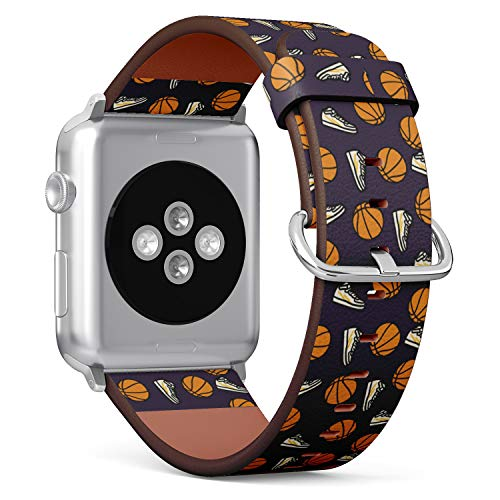 (Basketball and Sneaker Retro Pattern) Patterned Leather Wristband Strap for Apple Watch Series 4/3/2/1 gen,Replacement for iWatch 38mm / 40mm Bands