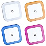 Cheap LED Night Light Lamp with Auto-control Light Sensor,Multicolor,Square Shape,Set of 4