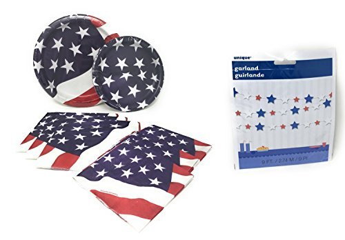 - Patriotic Party Supplies Decorations Bundle For 16: Red, White and Blue Flag Celebration Dinner and Lunch Plates, Lunch and Bev Napkins 9 FT Tinsel Garland
