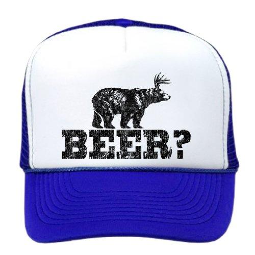 Retro Deer Beer Bear - funny party joke Funny Mesh Trucker Cap Hat, Royal