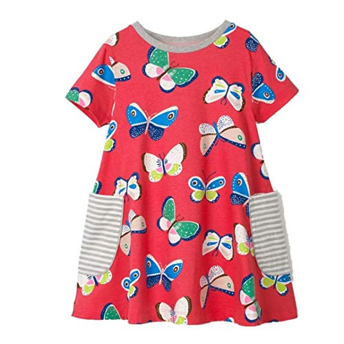 Toddler Girls Cute Animal Print Short Sleeve Casual Summer Applique Baby Children Tunic Dress -