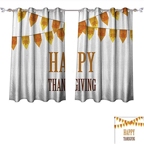 DragonBui Decor Curtains by Happy Thanksgiving Day Card with Bunting Flags Adjustable Tie Up Shade Rod Pocket Curtain W120 x ()