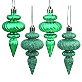 Vickerman N500042 Shatterproof Finial with 4 Separate Finishes (shiny, matte, glitter and sequin) in 8 per box, 4'', Teal